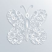 Vector Illustration of Paper Butterfly with Tribal Ornament poster