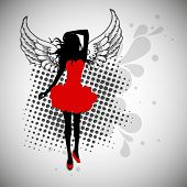 Silhouette of a young girl in red dress on vintage abstract background. poster