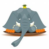 Vector illustration of Dish with elephant for terribly hungry poster