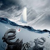 Sunken currency symbols with yacht floating above poster