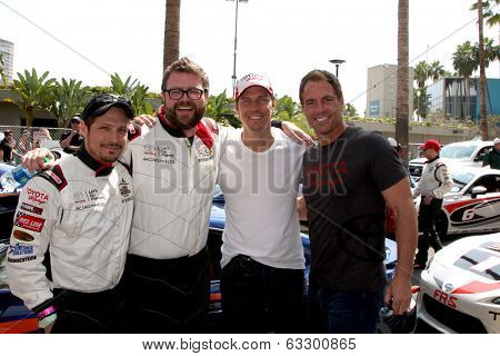 LOS ANGELES - APR 12:  Nick Wechsler, Rutledge Wood, Michael Trucco, Mark Steines at the Long Beach Grand Prix Pro/Celeb Race at the LB Grand Prix Race Circuit on April 12, 2014 in Long Beach, CA
