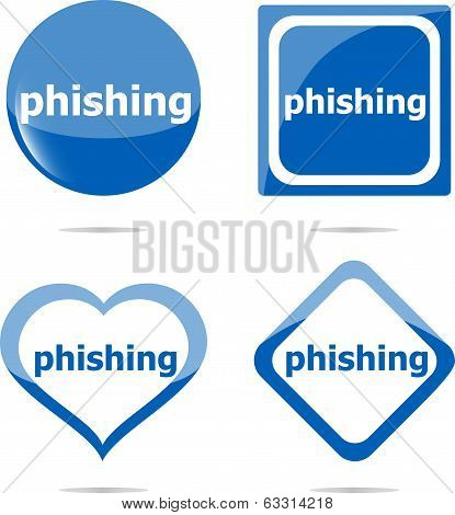 Phishing Word With Lock On Stickers Set, Web Icon