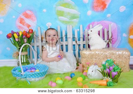 Beautiful Toddler Girl In Easter Scene