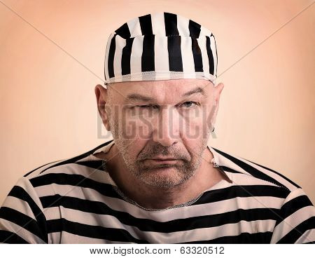 portrait of a man prisoner in prison garb poster