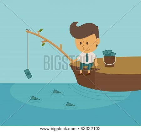 Businessman Fishing Dollar