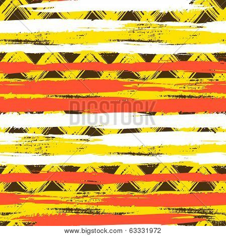 Vector seamless ethnic pattern with bold zigzag brushstrokes and stripes in bright colors can be used for web, print, wallpaper, fall winter fashion, fabric, textile, gift wrapping paper poster