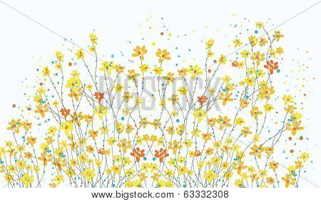 Floral banner with daffodil flowers cute