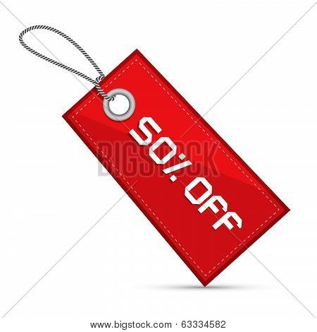 Fifty Percent Off Red Discount Sale Paper Label, Tag With Strings