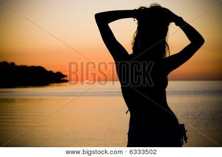 Sexy Woman's Silhouette by the Sea