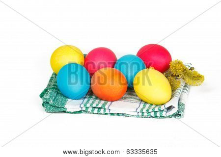 Many Easter eggs on the towel