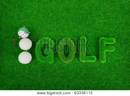 golf green grass word on green background