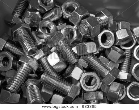 Nuts And Bolts In Bin