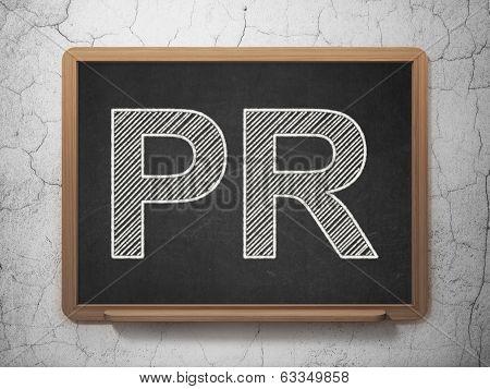 Marketing concept: text PR on Black chalkboard on grunge wall background, 3d render poster