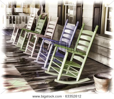 Pastel Colored Rocking Chairs
