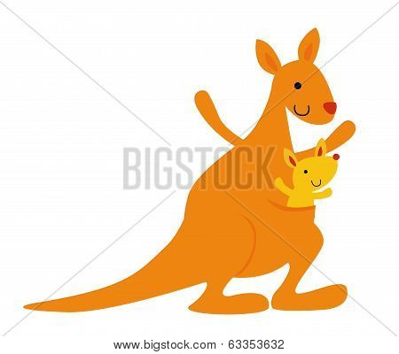 mother kangaroo with her little baby