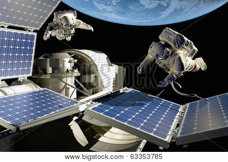 "Astronauts in space around the solar battarei.""Elemen ts of this image furnished by NASA"" poster"