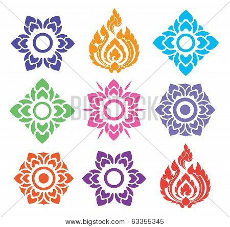Colorful Floral Of Thai Pattern