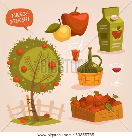 Gardening. Farm fresh. Retro style vector elements.