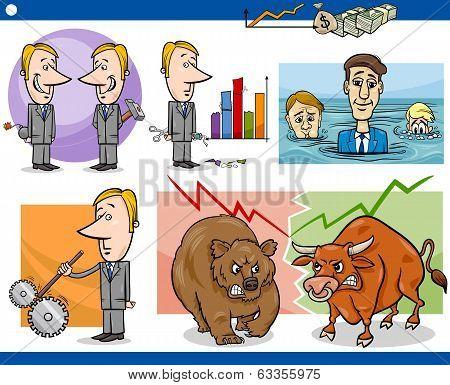 Businessmen Cartoon Concepts Set