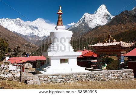 Ama Dablam Lhotse and top of Everest from Tengboche - Way to Everesr base camp - Khumbu valley - Nepal poster