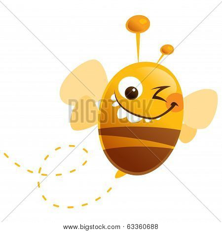 Crazy Cartoon Funny Cute Bee With Stripes Flying Buzz