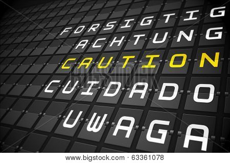 Caution in languages on digitally generated black mechanical board