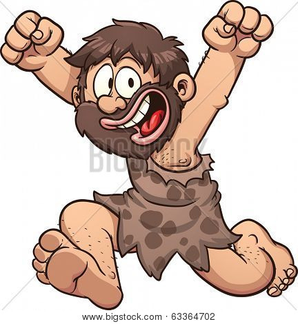 Happy cartoon caveman. Vector clip art illustration with simple gradients. All in a single layer.