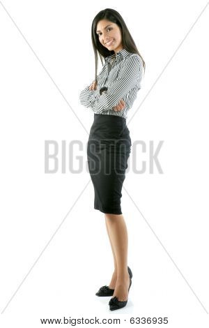 Beautiful Full Body Woman Portrait On White