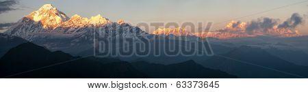 Evening Panoramic View Of Mount Dhaulagiri And Mount Annapurna - Nepal