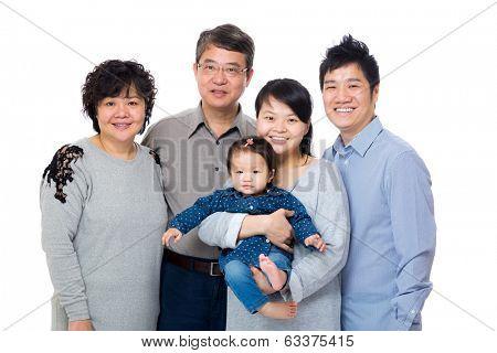 Happy three generation asian family