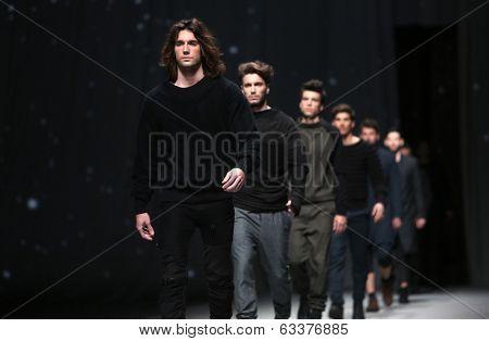 ZAGREB, CROATIA - APRIL 10 : Fashion model wears clothes made by Maja Podrug for Mayn on