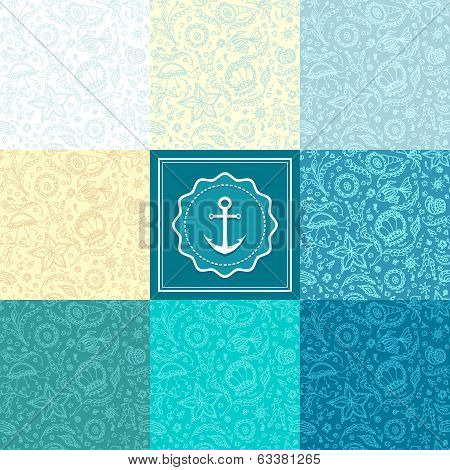 Set Seamless pattern or background with marine world