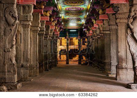 Passage in Sri Menakshi Temple, Madurai, Tamil Nadu, India poster