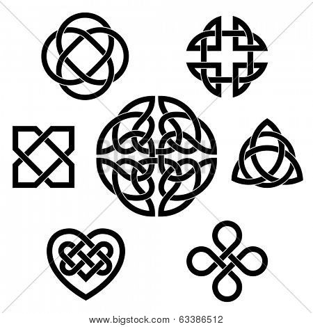 Variety of celtic knots. Set of seven traditional celtic infinity knot vector elements.