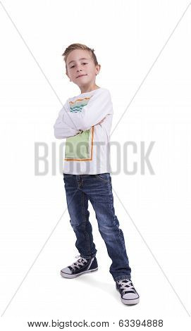 Cute elementary boy with arms crossed