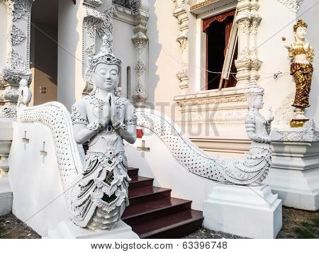Thai Art, Angel Fusion Naka Statue On Staircase poster
