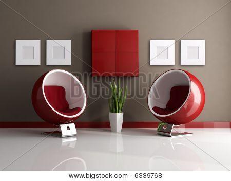 Interior moderno vermelho e marrom