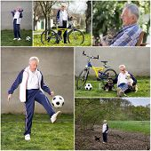 Collage of senior man enjoying active retirement poster