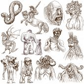 Myths and Legendary Monsters around the World (set no. 1) - Collection of an hand drawn illustrations. Description: Full sized hand drawn illustrations drawing on white background. poster