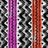 Vector seamless ethnic pattern hand painted with bold zigzag brushstrokes and stripes in bright colors poster