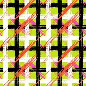Vector seamless plaid pattern with bold brushstrokes and stripes in bright variety of colors can be used for web, print, wallpaper, fall winter fashion, fabric, textile, gift wrapping paper poster