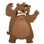 Funny aggressive cartoon brown grizzly bear attacking by standing with open mouth and showing teeth poster