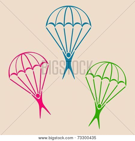 Colorful vector parachute jumper icons on retro background poster
