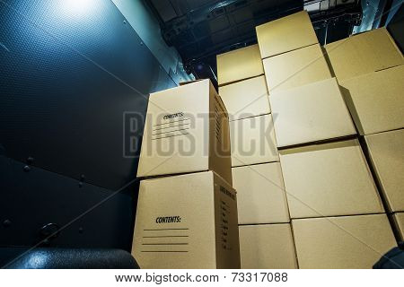 Pile Of Boxes In Van
