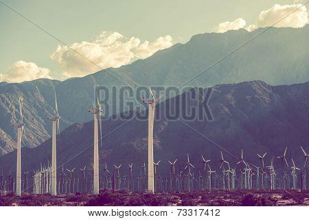 Power Plant Scenery. Wind Turbines in Coachella Valley California USA. poster