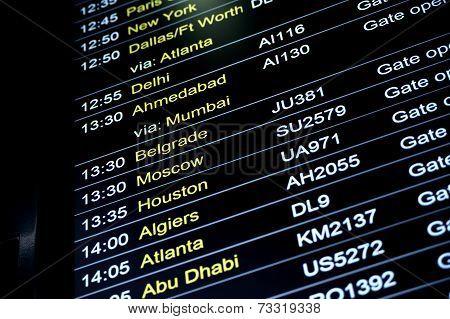 Departures Flight Information Schedule In International Airport