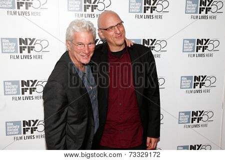 NEW YORK-OCT 5: Actor Richard Gere (L) and director Oren Moverman attend the premiere of