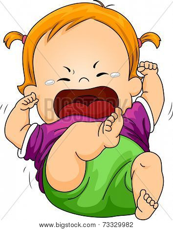 Illustration Featuring a Baby Throwing a Tantrum