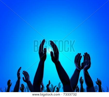 Raised Hands Of Crowd