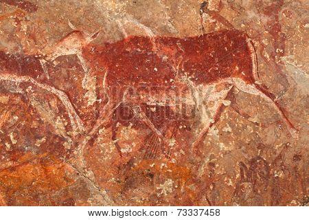 Bushmen (san) rock painting of an eland antelope, Drakensberg mountains, South Africa